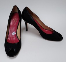 Kate Spade Womens Shoes Heels Black Pumps Peep Toe Fabric Italy Size 9 M - $69.25