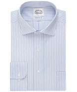 Eagle Shirtmakers Non-Iron Danish Blue Stripe Dress Shirt 15 32/33 - $24.16