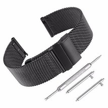 Beauty7 Black 18mm Quick Release Stainless Steel 0.6mm Mesh Watch Band Kit - $32.03