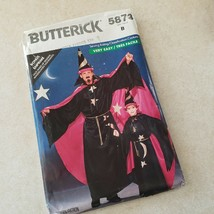 Butterick 5873 Wizard Costume Hat Cape Wand Child Adult S M L Very Easy Cut VTG - $8.91
