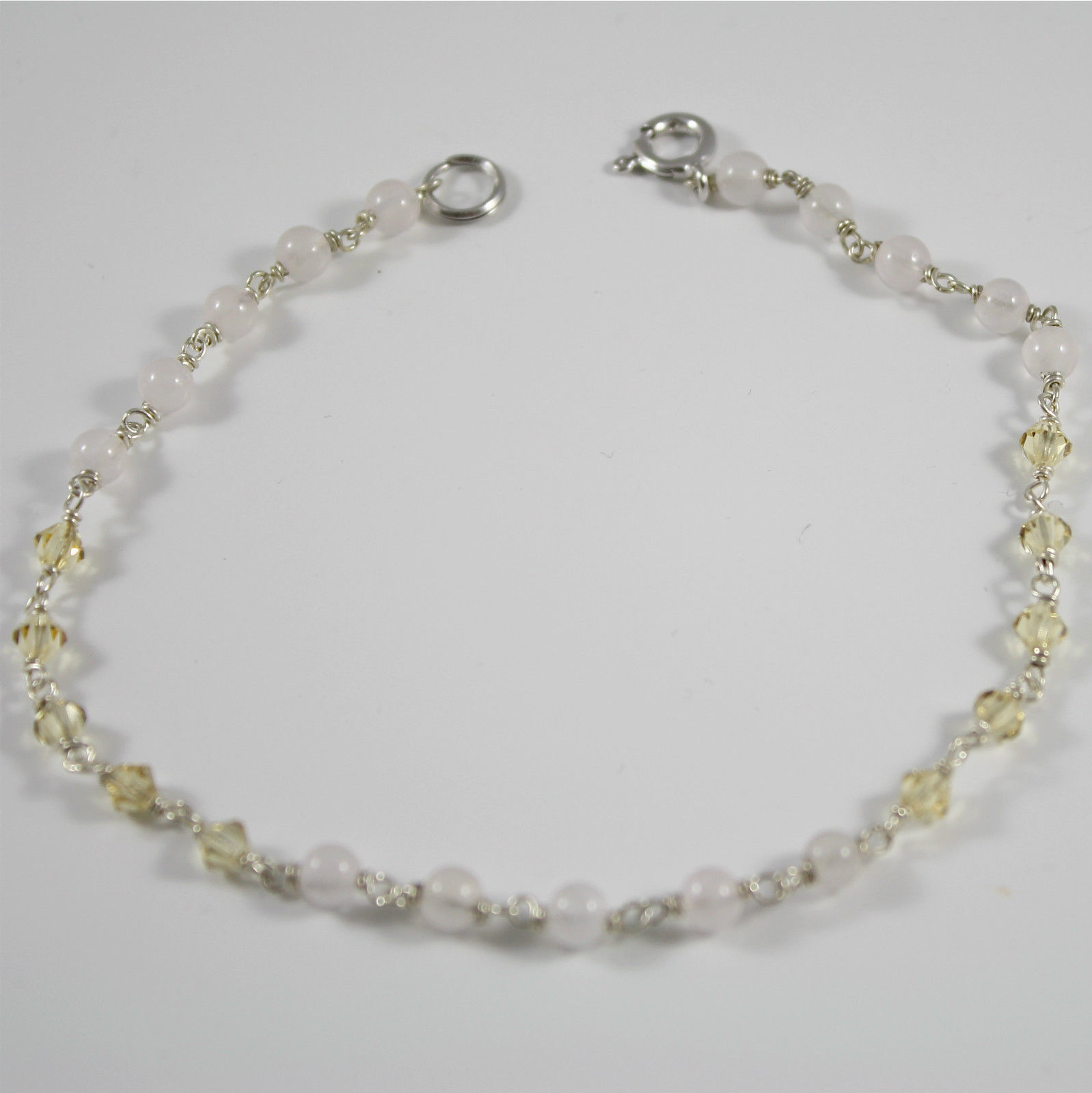 Bracelet-Anklet Silver 925 Rhodium Crystals Yellow and Rose Quartz