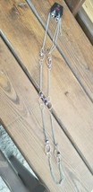 Paparazzi Long Necklace & Earring set (new) #329 MARBLED PURPLE HOOPS - $7.61