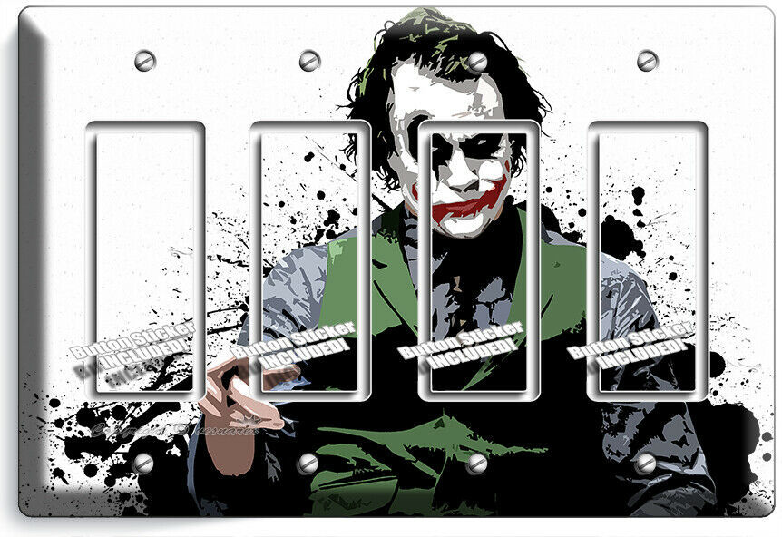 THE JOKER BATMAN DARK KNIGHT 4 GFCI LIGHT SWITCH WALL PLATE COVER ROOM ART DECOR