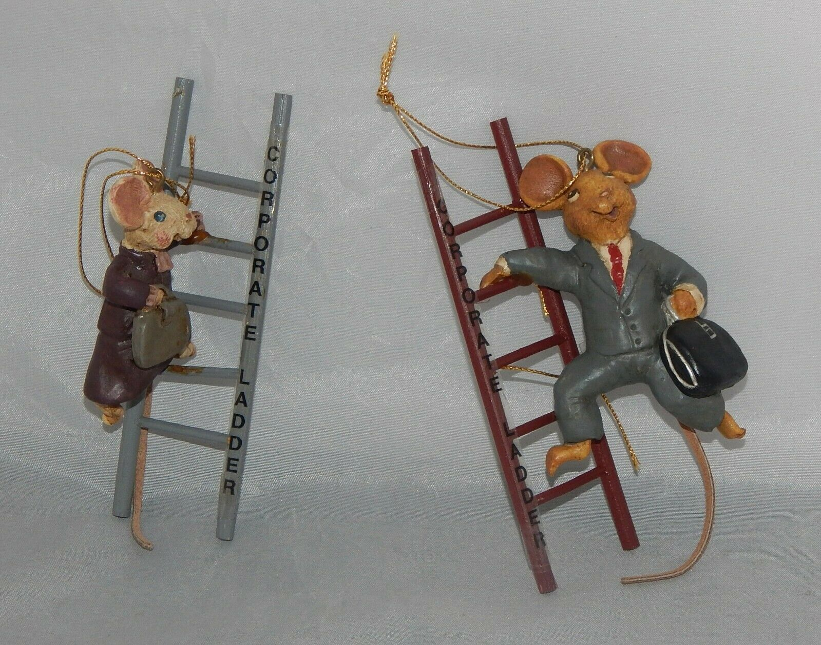 Primary image for 2 Kurt Adler Corporate Ladder Mice Ornaments Male and Female Mice