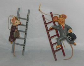 2 Kurt Adler Corporate Ladder Mice Ornaments Male and Female Mice - $12.87