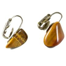 Polished Tiger's Eye Brown & Gold Pebble Stone Rock Clip-On Earrings image 4
