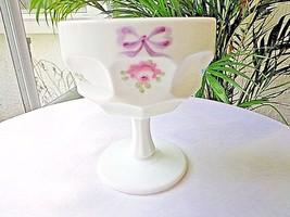 Westmoreland Roses & Bows Large Sherbet Glass c 1980 Signed - $11.88