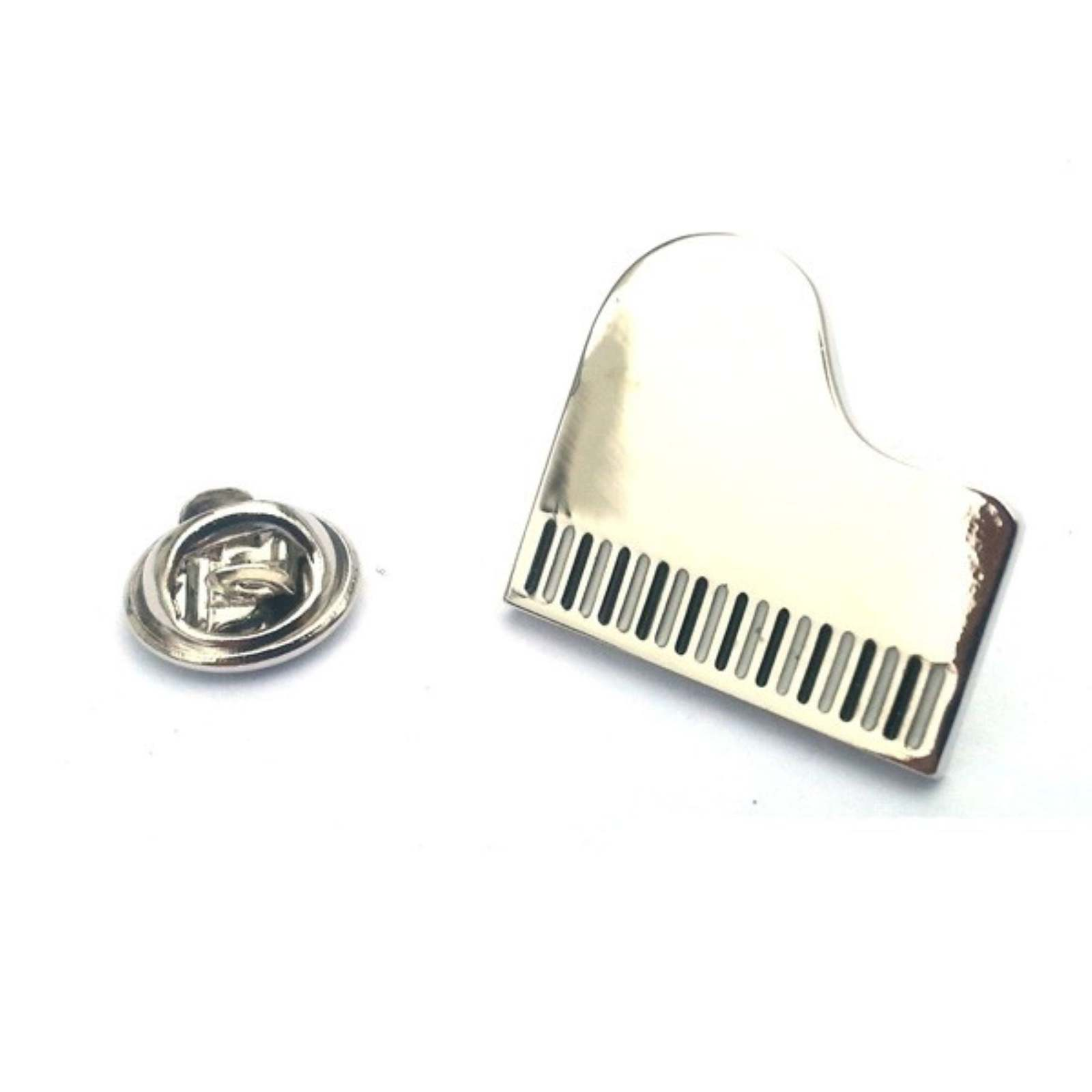 Grand Piano silver plated enamel finish tie pin, Lapel Pin Badge, in gift box