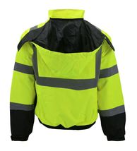 Men's Class 3 Safety High Visibility Water Resistant Reflective Neon Work Jacket image 10