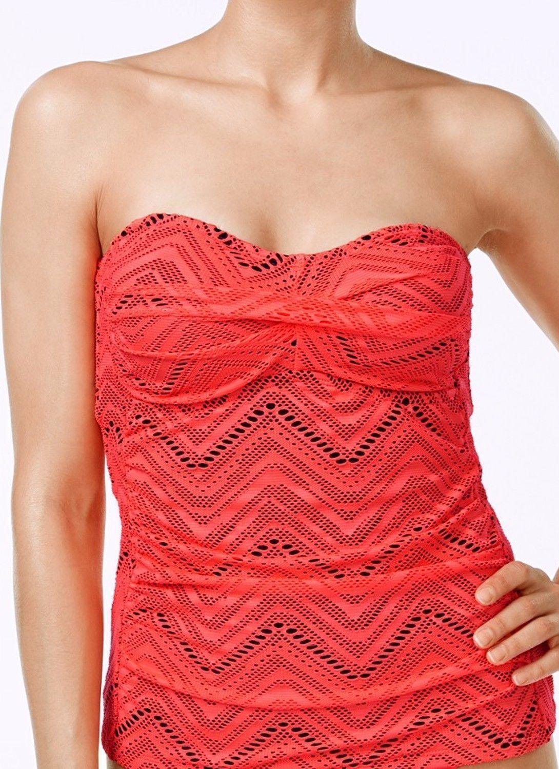NEW Island Escape Coral Calypso Twist Crochet Bandeau Tankini Top size 12 - $18.80