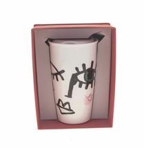 Starbucks Pink Winking Eye Siren Face Dot Art Ceramic Tumbler Traveler M... - $40.89