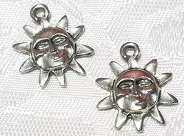 SHINING SUN FINE PEWTER PENDANT CHARM - 15.5x18.5x2.5mm