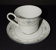 Diane Fine Porcelain China of Japan White Blue Flower Cup & Saucer 2 Pie... - $19.79
