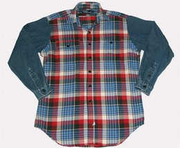 Vtg? Ralph Lauren Polo 2 Pocket Flannel Plaid Denim Sleeves Men's Shirt ... - $42.99