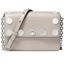 Michael Kors Rivington Stud Natalie Small Chain Messenger Handbag Cement... - $152.45