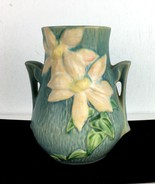 Roseville Clematis Vase Pottery Blue Flowers Double Handle USA 103 – 6 V... - $79.15