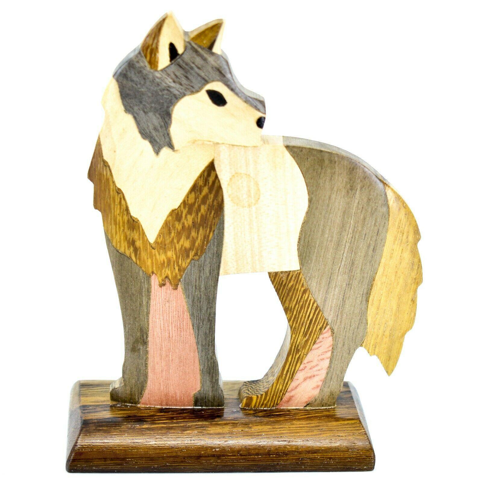 Northwoods Handmade Wooden Parquetry Standing Wolf Sculpture Figurine