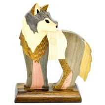 Northwoods Handmade Wooden Parquetry Standing Wolf Sculpture Figurine image 1