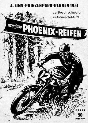 Primary image for 1951 Brunswick Prince Park Motorcycle Race - Promotional Advertising Poster