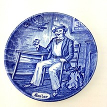 Enoch Wedgwood Tunstall Sailor Collector Mini Blue Delft Style Plate Eng... - $12.99