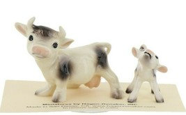 Hagen Renaker Farm Cow Black and White Mama & Baby Calf Ceramic Figurine Set