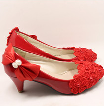 Lace Wedding Low Heel Shoes Red Bridal Heel Shoe Blush Wedding UK Size 3,4,5,6 - $38.00