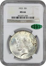 1923 $1 NGC/CAC MS66 - Peace Silver Dollar - $402.55