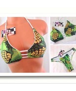 Swimwear Green & Yellow Pineapple Print Bikini Ladies Women's Small NWT - $35.00