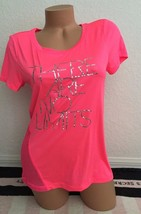 Live Love Dream T-Shirt There Are No Limits Neon Pink Silver Mesh Back Tee -S - $24.99