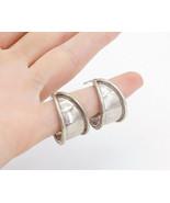 MEXICO 925 Sterling Silver - Vintage Raised Edge Tapered J-Hoop Earrings... - $43.38