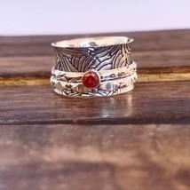 Garnet 925 Silver Spinner Ring Handmade Size 9 Jewelry HO3970 - $9.89