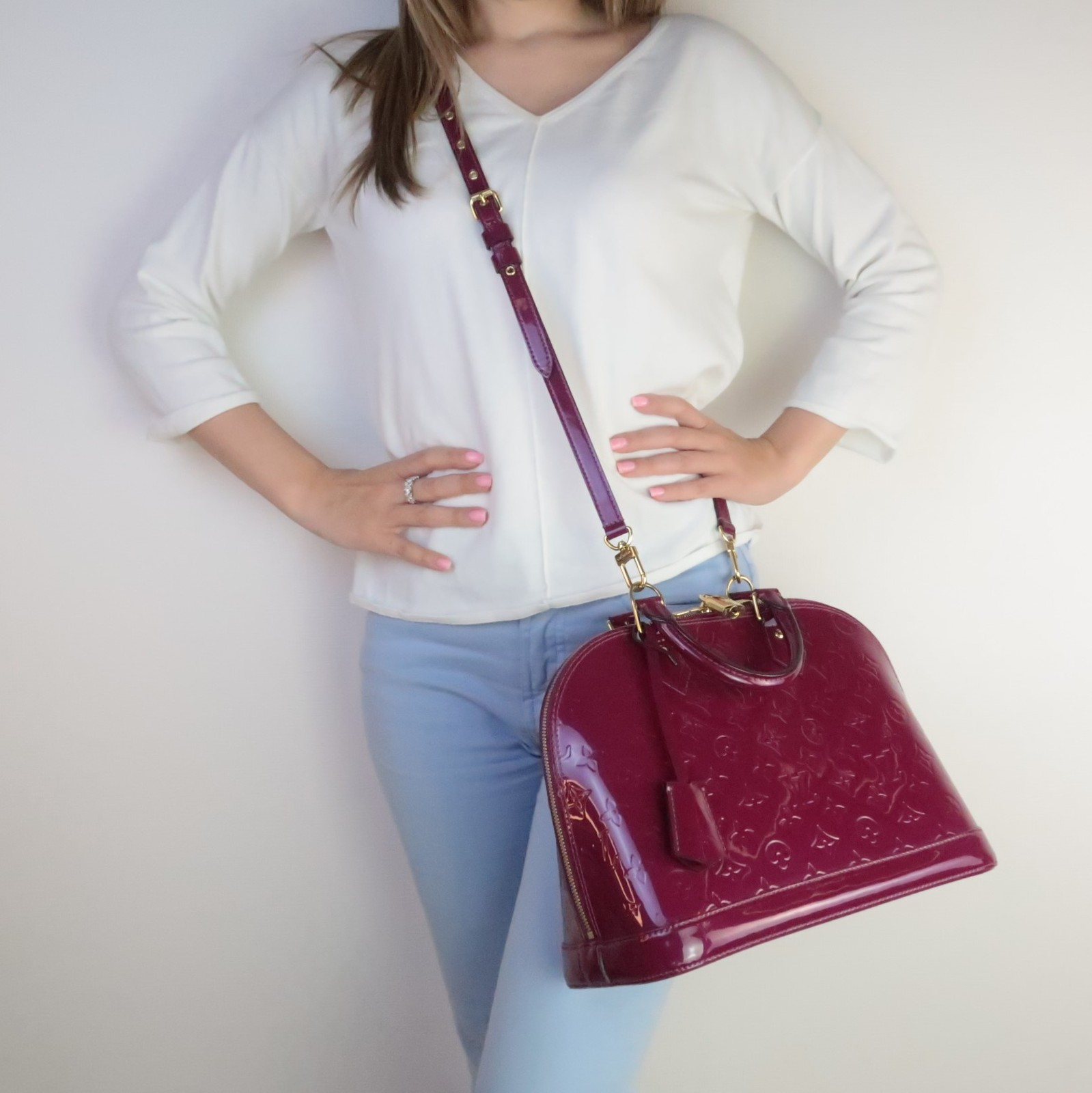 Primary image for Louis Vuitton Monogram Vernis Magenta Alma PM bag + matching strap