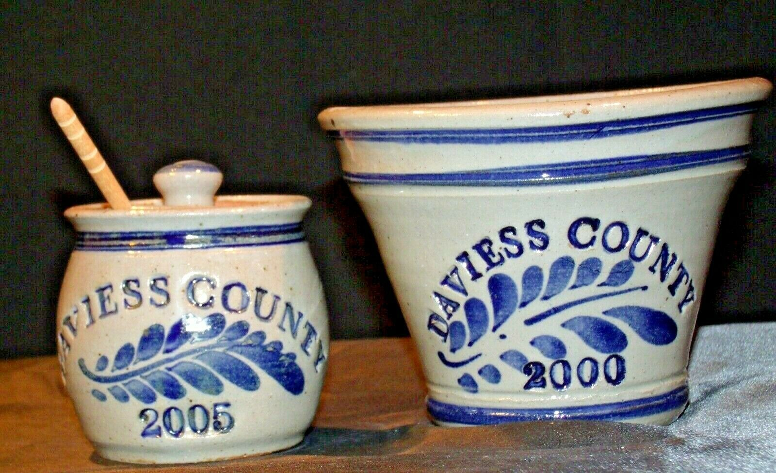 Daviess County Westerwald Pottery Honey Pot with Lid & Bowl AA-191833