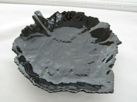 Vintage Victor Carranza Shiny Glazed Black Leaf Serving Bowl Dish for Mikasa - $12.86