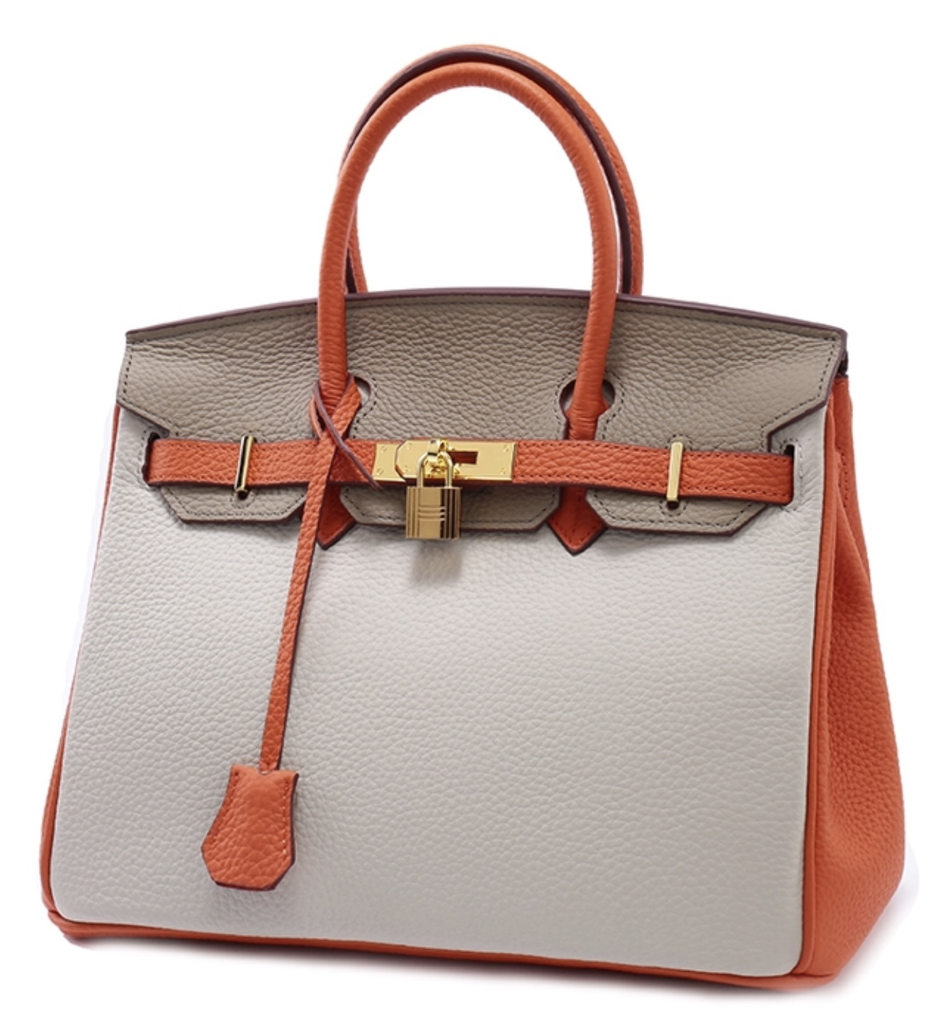 35cm Color Block Pebbled Italian Leather Birkin Style Satchel Handbag Purse 1998