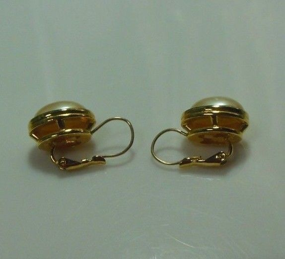 Vintage Signed LCI  Liz Claiborne Gold-tone Oval Faux Pearl Lever-Back Earrings