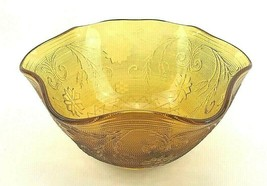 "Mid Century Modern 11"" Wide Amber Bowl Vintage Scalloped Heavy Glass Can... - $39.98"