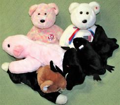 Lot Of 5 Ty B EAN Ie Buddies Classic Plush Pig Cat Bat Celebrate Teddy Usa Flag - $23.38