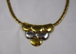 Vintage Silver And Gold Tone Necklace Ornate Tiered Scallops 15 In Sturd... - $8.72