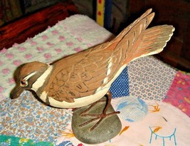 VTG HAND CARVED HANDPAINTED BIRD ON ROCK DUCK BURL WOOD STANDING DUCK OO... - $197.99