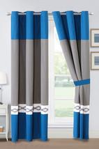 4-Pc Kavik Geometric Diamond Embroidery Curtain Set Blue Gray Off-White Grommet - $40.89