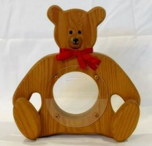 Teddy Bear Hand Carved Wood Vintage Children's Bank Wooden Handmade - $23.34