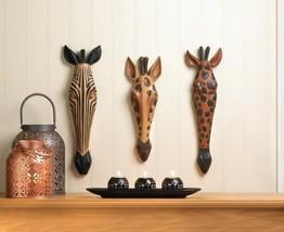 Tribal Zebra Giraffe Wall Mask Plaques Set of 3 Safari Decor - $75.31