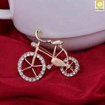 Rhinestone Bike Brooch Women Elegance Gold Twinkle Brooch Pins Jewelry G... - $6.06