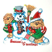 Vintage Christmas Decoration Plastic Molded Wall Hanging Snow Bear Artfo... - $12.23
