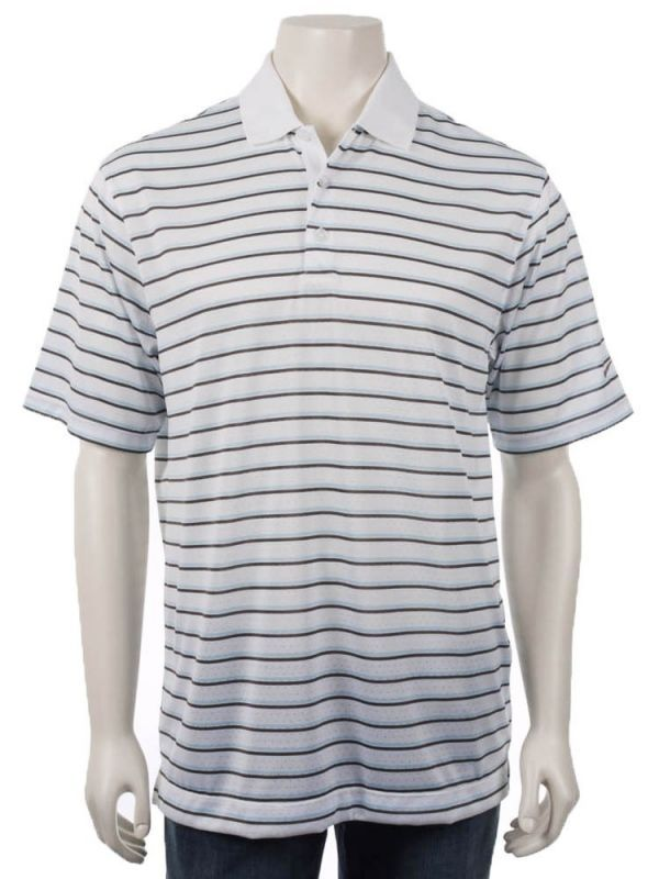NEW MENS NIKE GOLF DRI DRY FIT BODY MAPPING WHITE STRIPE SHIRT SMALL SM S POLO