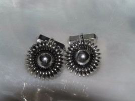 Vintage Swank Signed Silvertone Coiled Wire with Center Circle Cuff Link... - $12.19