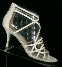 Blue by Betsey Crown Johnson ivory strappy wedding rear zip sandal heels... - $32.37