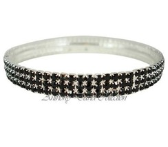 Ladies Jet Black Crystal Stackable Style Bangle Bracelet with Silver Metal - $9.00