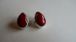 Vintage Sterling Silver Red Enamel Water Drop Stud Earrings 2.5cm 15.32g - $34.65